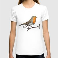 Robin bird Womens Fitted Tee White SMALL