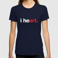 I Heart (black) Womens Fitted Tee Navy SMALL