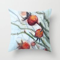 Rose Hips Abstract Watercolor Throw Pillow