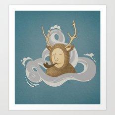 Smoking Deer Art Print