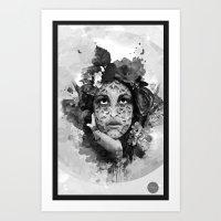 Abstract Portrait Blk/Wh… Art Print