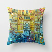 CAT-HEDRAL Throw Pillow