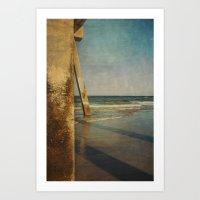 Minimalist Take on Johnny Mercer's Pier Wrightsville Beach, NC Art Print