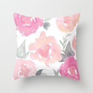 Muted Floral Watercolor … Throw Pillow