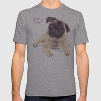 Pug Love Mens Fitted Tee Athletic Grey SMALL