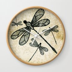 Dragonflies on tan texture Wall Clock