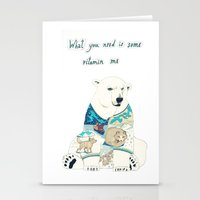 polar bear Stationery Cards featuring Polar Bear by Yuliya