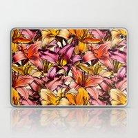 Daylily Drama - a floral illustration pattern Laptop & iPad Skin