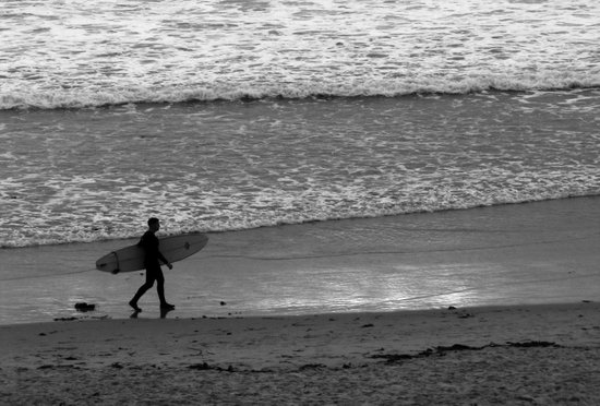 Surfer in Black and White Sunset Art Print