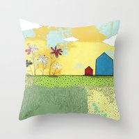 The Blue House Throw Pillow