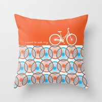 I Want To Ride My Bicycl… Throw Pillow