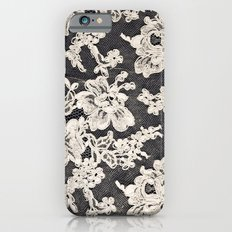 black and white lace- Photograph of vintage lace iPhone 6 Slim Case