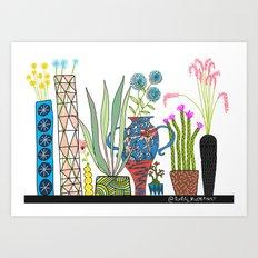 Exotic pots and plants Art Print