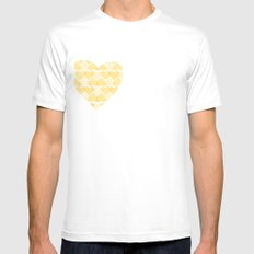 Pretty golden heart Mens Fitted Tee SMALL White