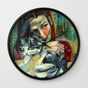 Girl With Cat 2 Wall Clock