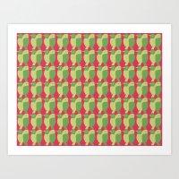 GREEN/LEMON BIRDS Art Print