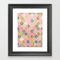Silver Grey, Soft Pink, Wood & Gold Moroccan Pattern Framed Art Print
