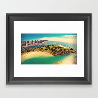 Ala Moana Beach Park, Magic Island, and Diamond Head  Framed Art Print