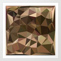 Sienna Abstract Low Polygon Background Art Print