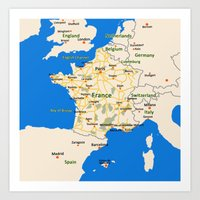 France Map Design Art Print