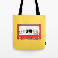 Cassette Tape // yellow and red // large Tote Bag