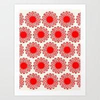 Vintage Flower-Red Art Print