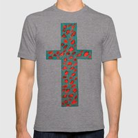 Coral & Teal Leopard Print Cross Mens Fitted Tee Tri-Grey SMALL