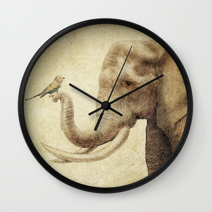 A New Friend (sepia drawing) Wall Clock by Eric Fan | Society6