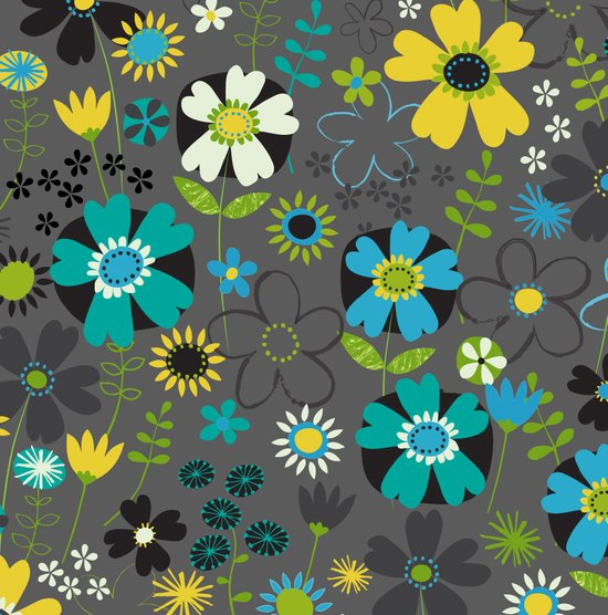 Pop floral (yellow & blue) Art Print