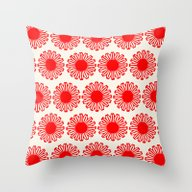 Vintage Flower-Red Throw Pillow