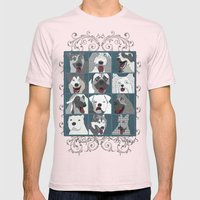 Dogs Vertical Mens Fitted Tee Light Pink SMALL