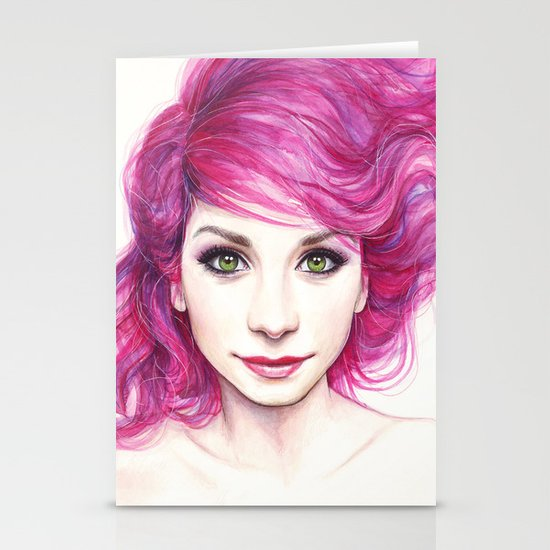 Pink Hair Stationery Card