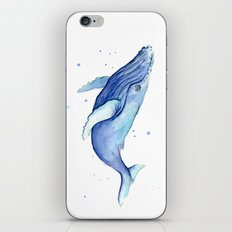 Humpback Whale Watercolor Painting   Whimsical Animal Art iPhone & iPod Skin