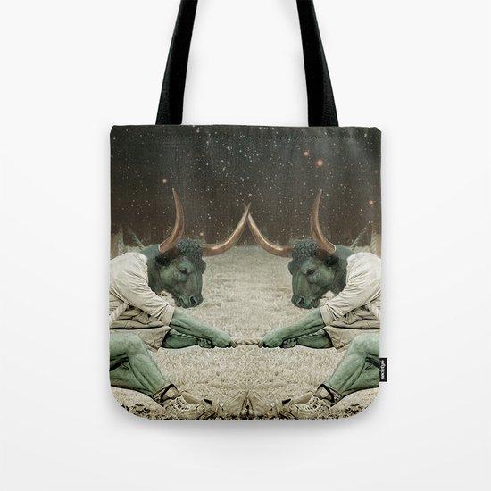 locking horns under Taurus Tote Bag