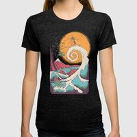 Surf Before Christmas Womens Fitted Tee Tri-Black SMALL