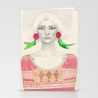 Two Red Flowers Stationery Cards