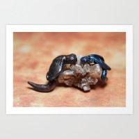 Dragons on Smokey Quartz Art Print