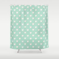 Cute Dainty Mint Cats Pa… Shower Curtain