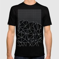 Abstract Outline Grid Grey Mens Fitted Tee Black SMALL