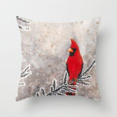 The Red Cardinal In Wint… Throw Pillow