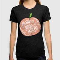 YOU'RE A PEACH Womens Fitted Tee Tri-Black SMALL