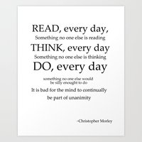 read every day  Art Print