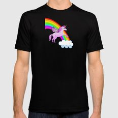 Unicorn and Rainbow Mens Fitted Tee Black SMALL