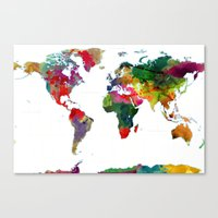 Watercolor World Map #3 Canvas Print