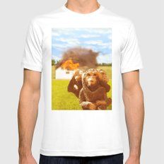 Monkeys Make Bad Pets. SMALL White Mens Fitted Tee