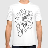 Thank You Hand Lettered … Mens Fitted Tee White SMALL