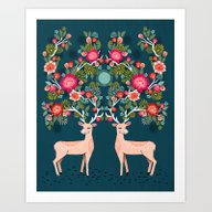 Deer With Flowers By And… Art Print