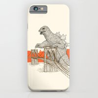 iPhone Cases featuring Godzilla vs. the Brooklyn Bridge by Andrew Henry