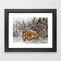 Tiger and City Framed Art Print