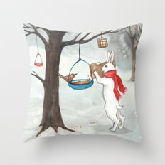 Filling the Bird Feeder Throw Pillow